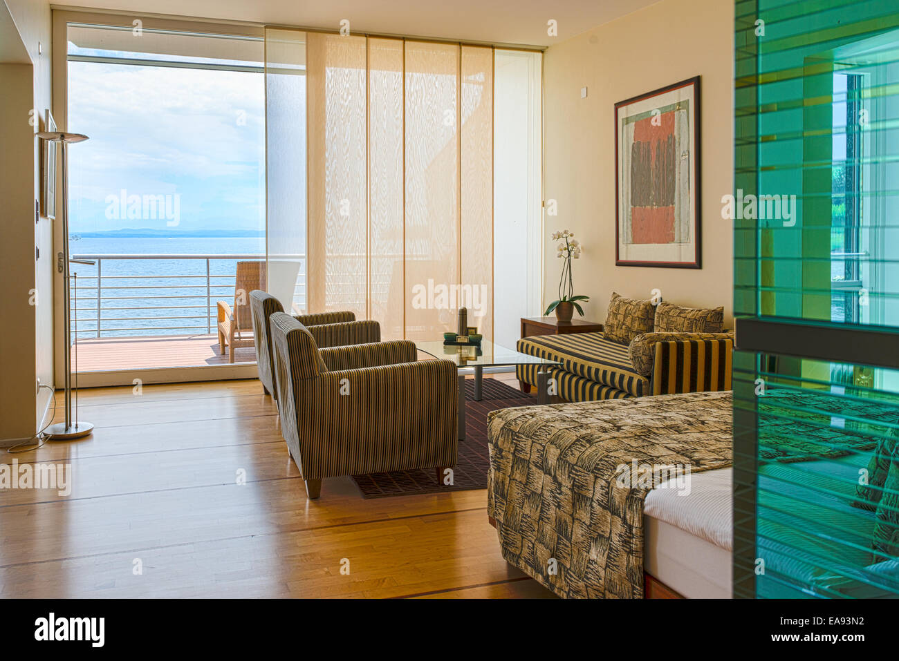 Panorama of Lake Neuchatel in Switzerland seen from a luxurious hotel room - Stock Image