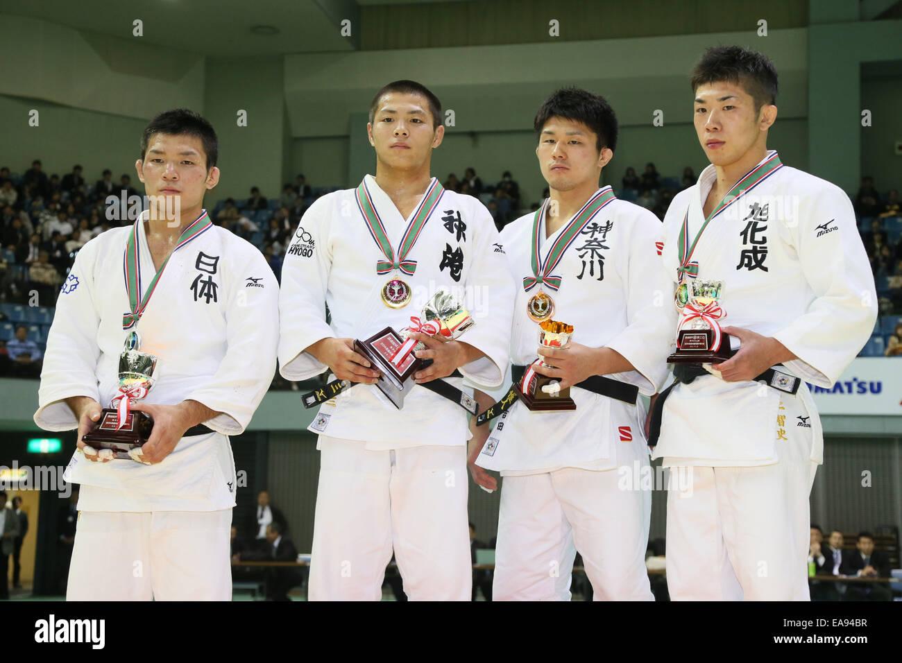 Chiba Port Arena, Chiba, Japan. 8th Nov, 2014. (L-R) Yuki Nishiyama, Hifumi Abe, Yuito Yoshida, Tomofumi Takajo, Stock Photo