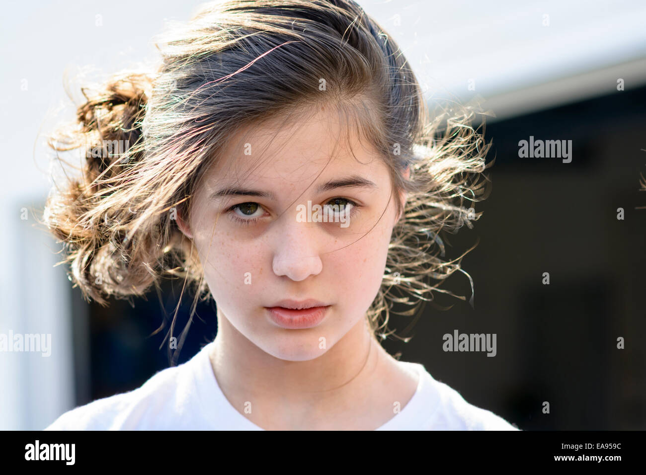 american female teenager anxious - Stock Image