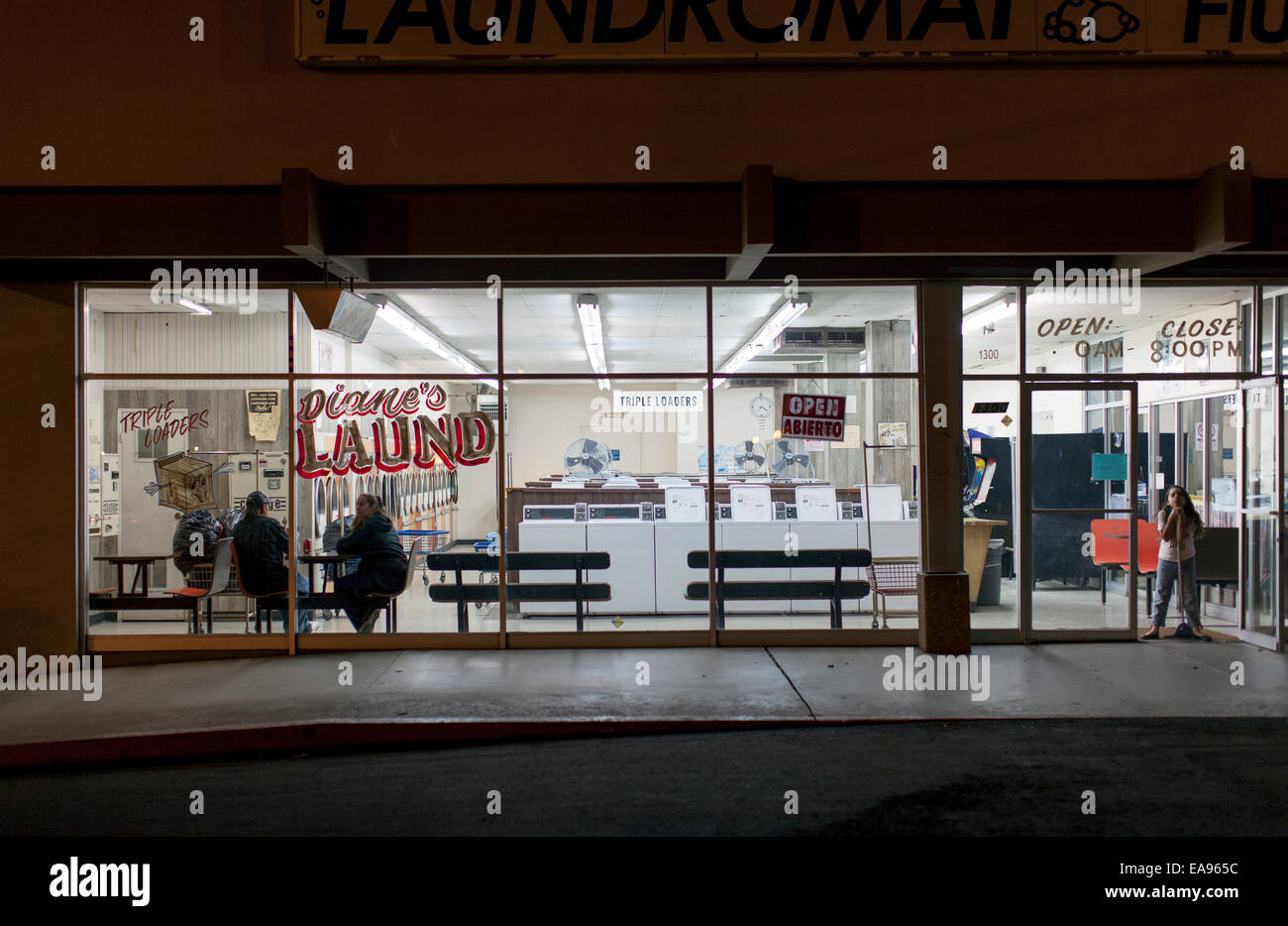 Diane's Laundromat on Route 66, Barstow, California - Stock Image