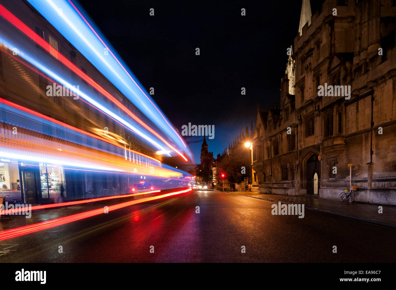 Oxford Hight Street at night with streaks of light from passing cars - Stock Image
