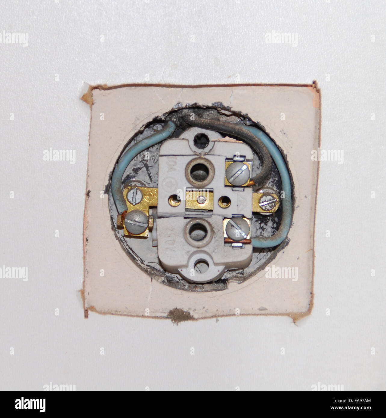 Socket And Wires Stock Photos Images Alamy Rewiring Old Doorbell Wall Broken Unusable Image