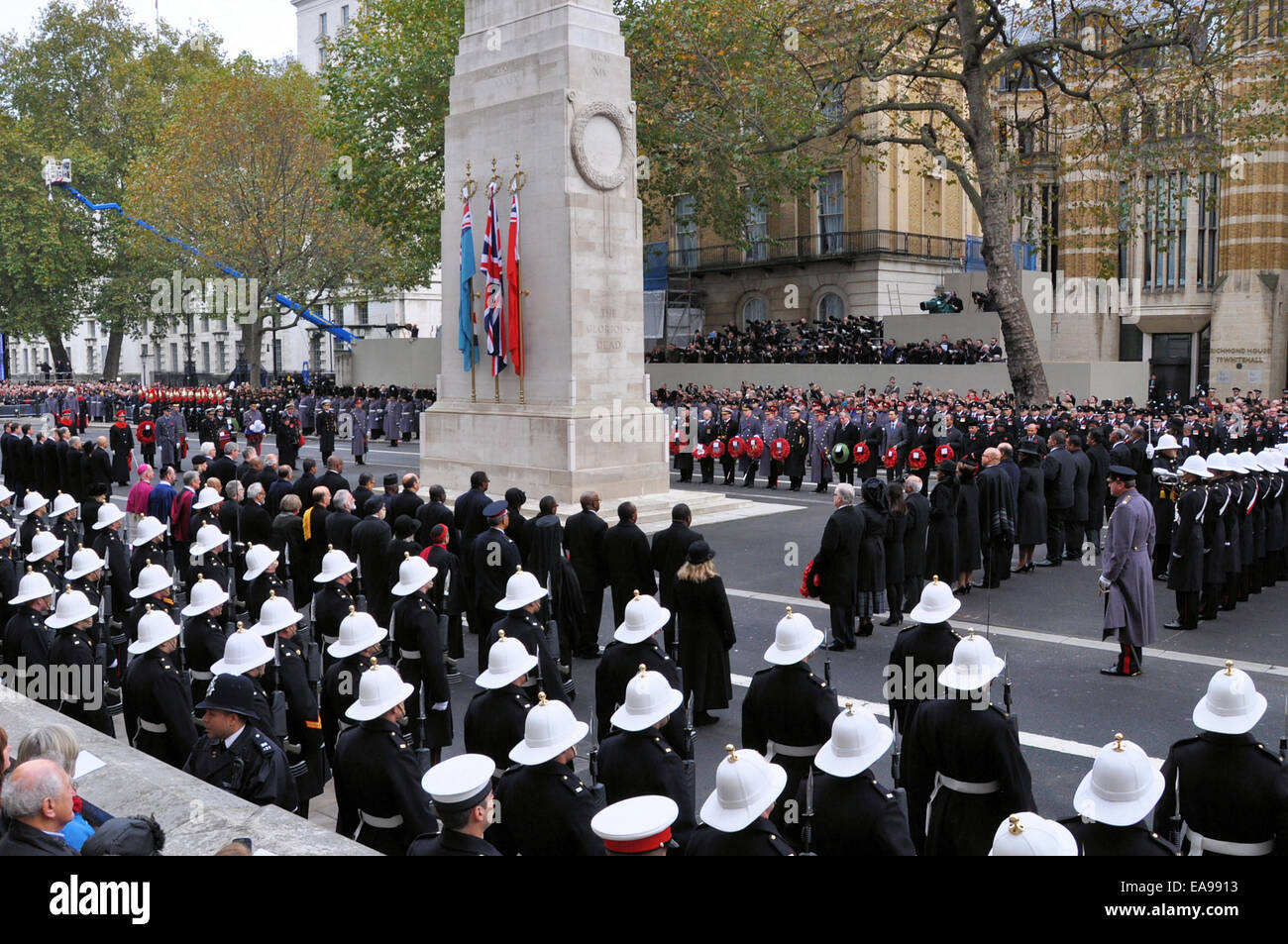 The Cenotaph is the site of the annual National Service of Remembrance held at 11:00 am on Remembrance Sunday, the - Stock Image