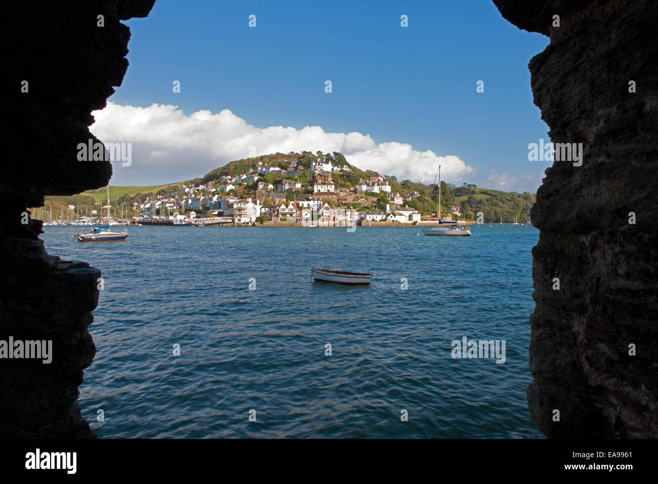 Kingswear and the River Dart, South Hams, taken from Bayard's Cove Fort, South Devon, England, Uk. - Stock Image