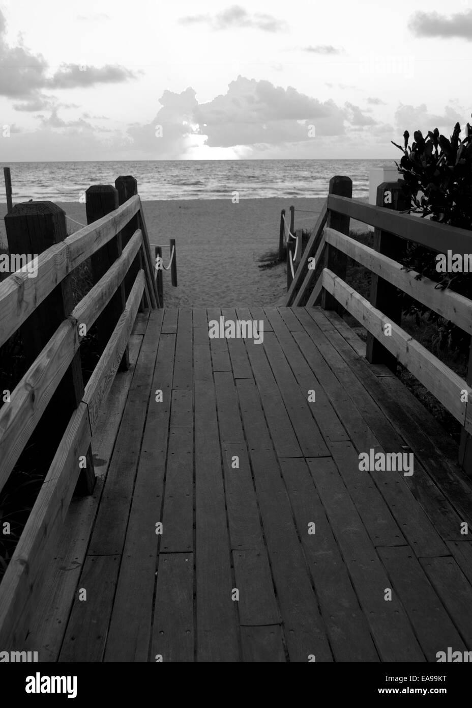 B&W Boardwalk to Miami Beach Florida USA - Stock Image