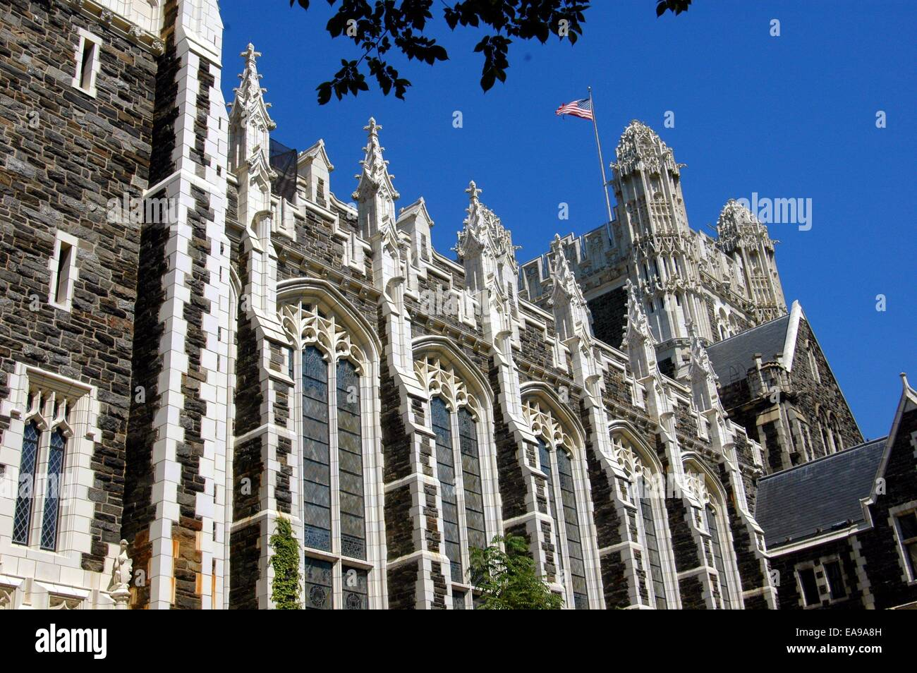 nyc flamboyant english neo gothic buildings at the city college of
