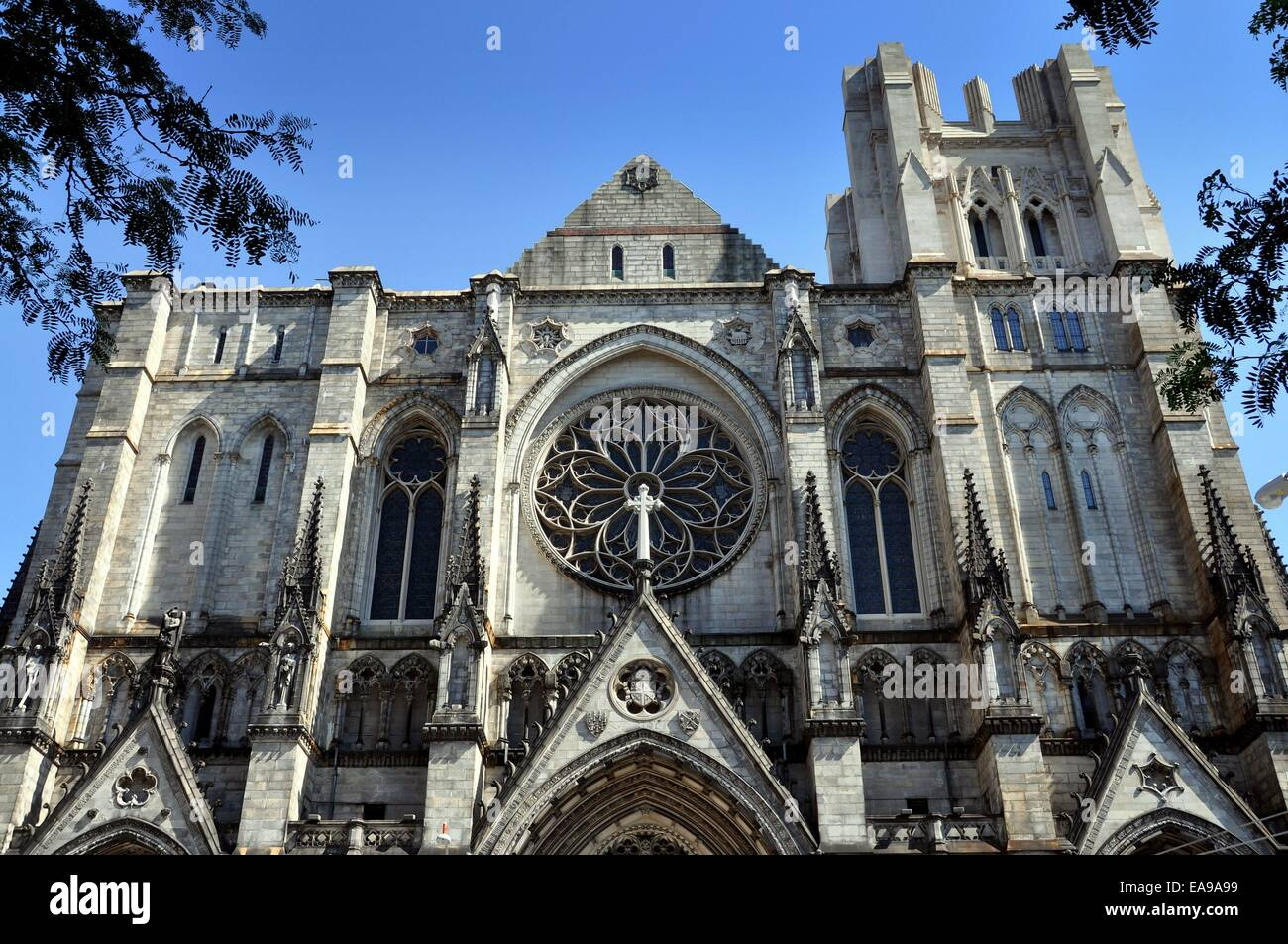 NYC:  The unfinished west front of the 1892 neo-gothic Cathedral Church of St. John the Divine - Stock Image