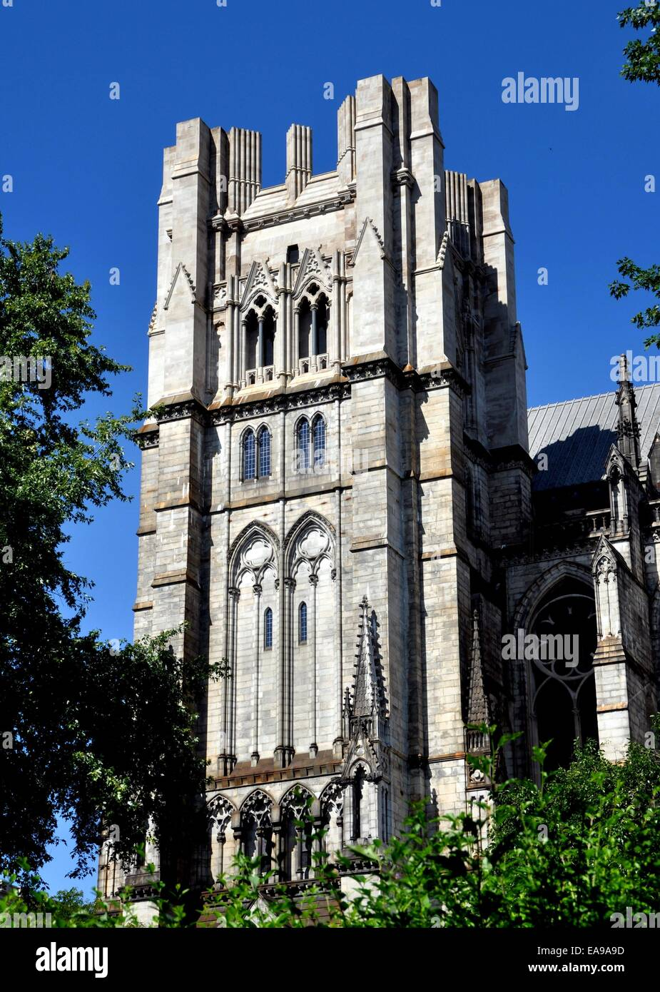 NYC:  The neo-gothic unfinished south tower of the 1892 Cathedral Church of St. John the Divine - Stock Image