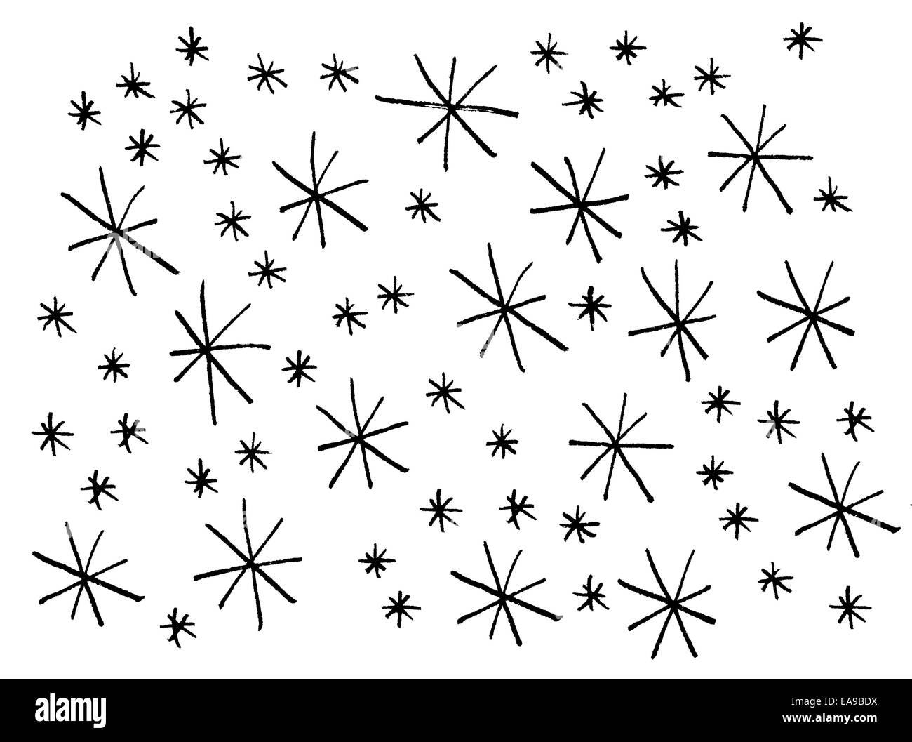 White and black star pattern in grungy, organic style for winter holidays or Christmas. Stock Photo