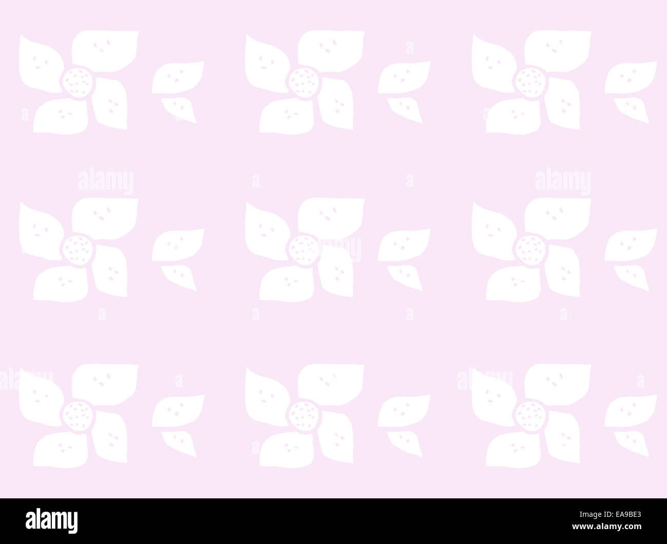 Baby flowers pink. Abstract hand drawn flower pattern in baby colors baby blue, baby pink, baby yellow. Stock Photo
