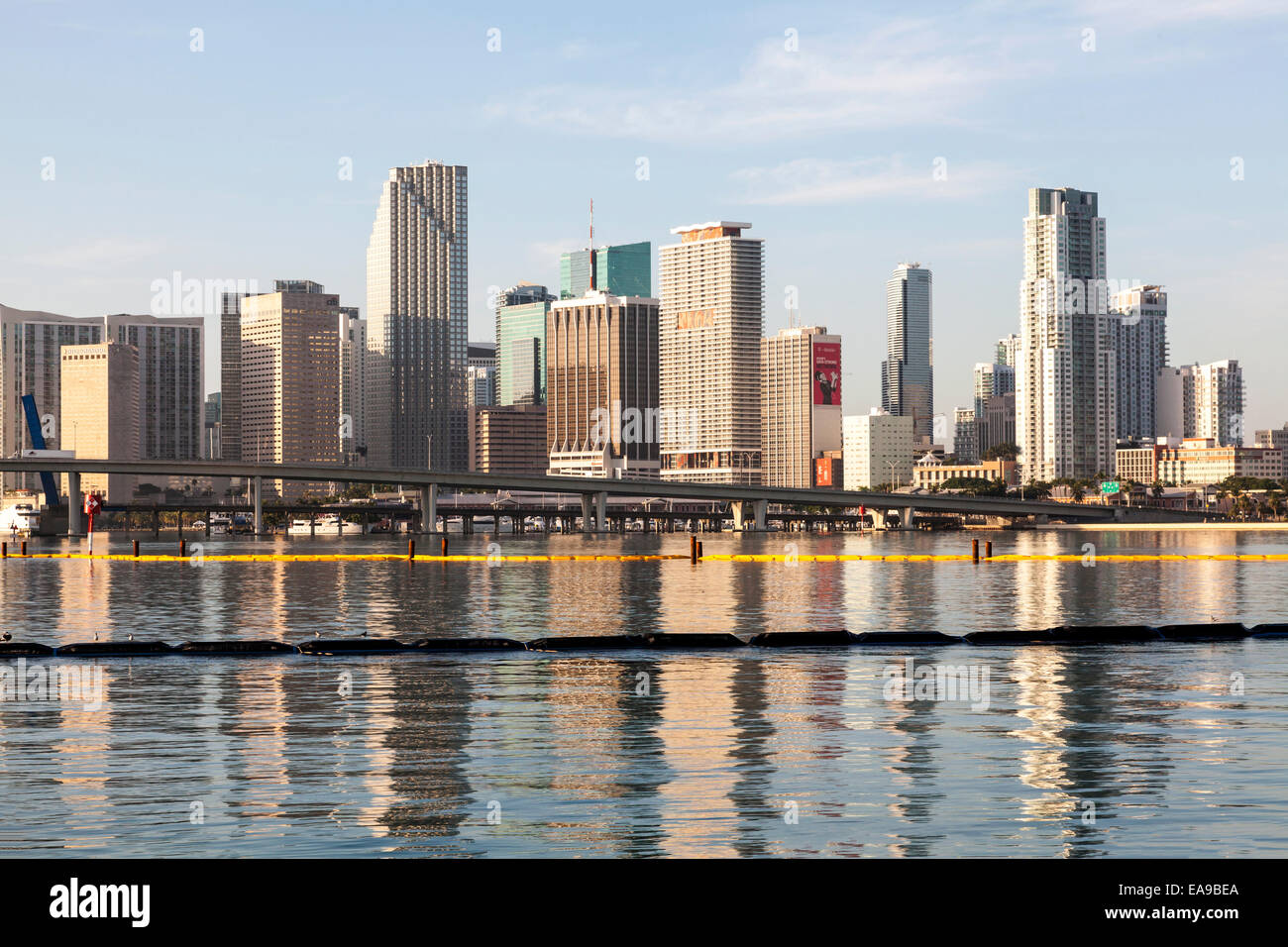High-rises of the Miami skyline are reflected in the calm waters of Biscayne Bay in the early morning sunlight, Stock Photo