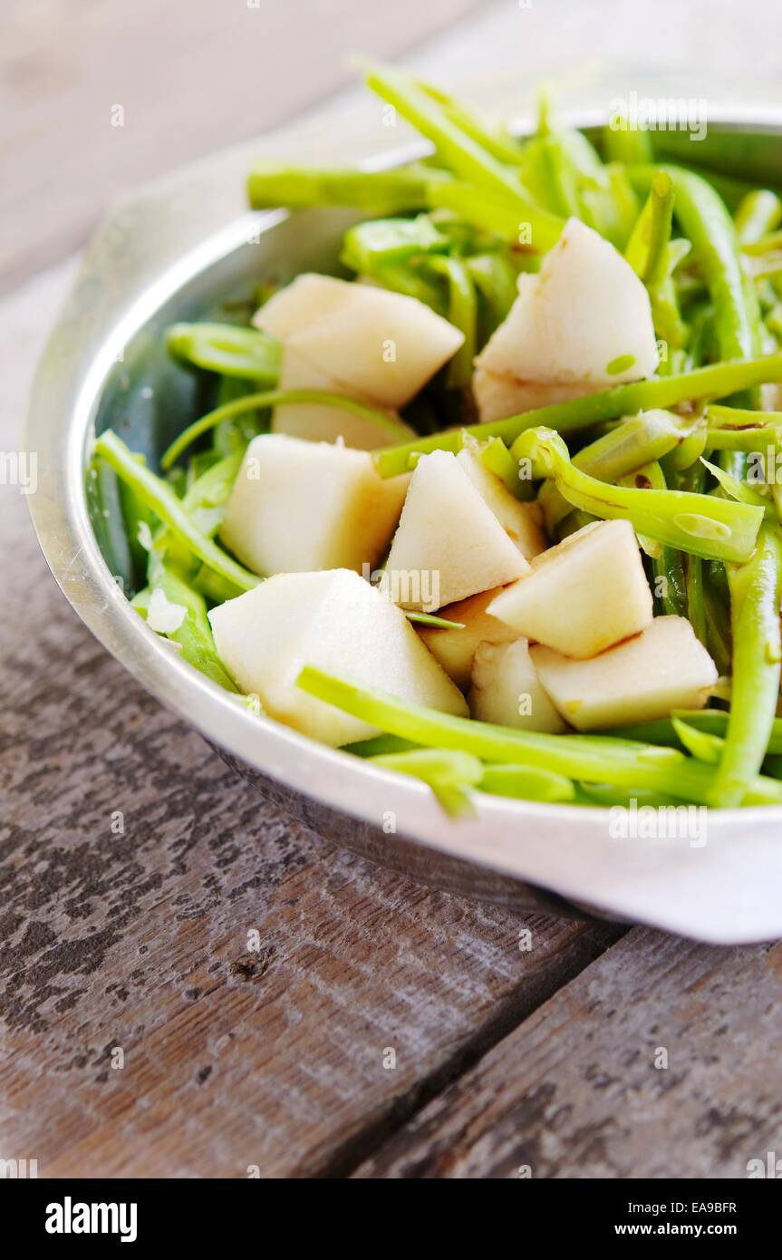 Green beans and pears as side dish or salad. Stock Photo