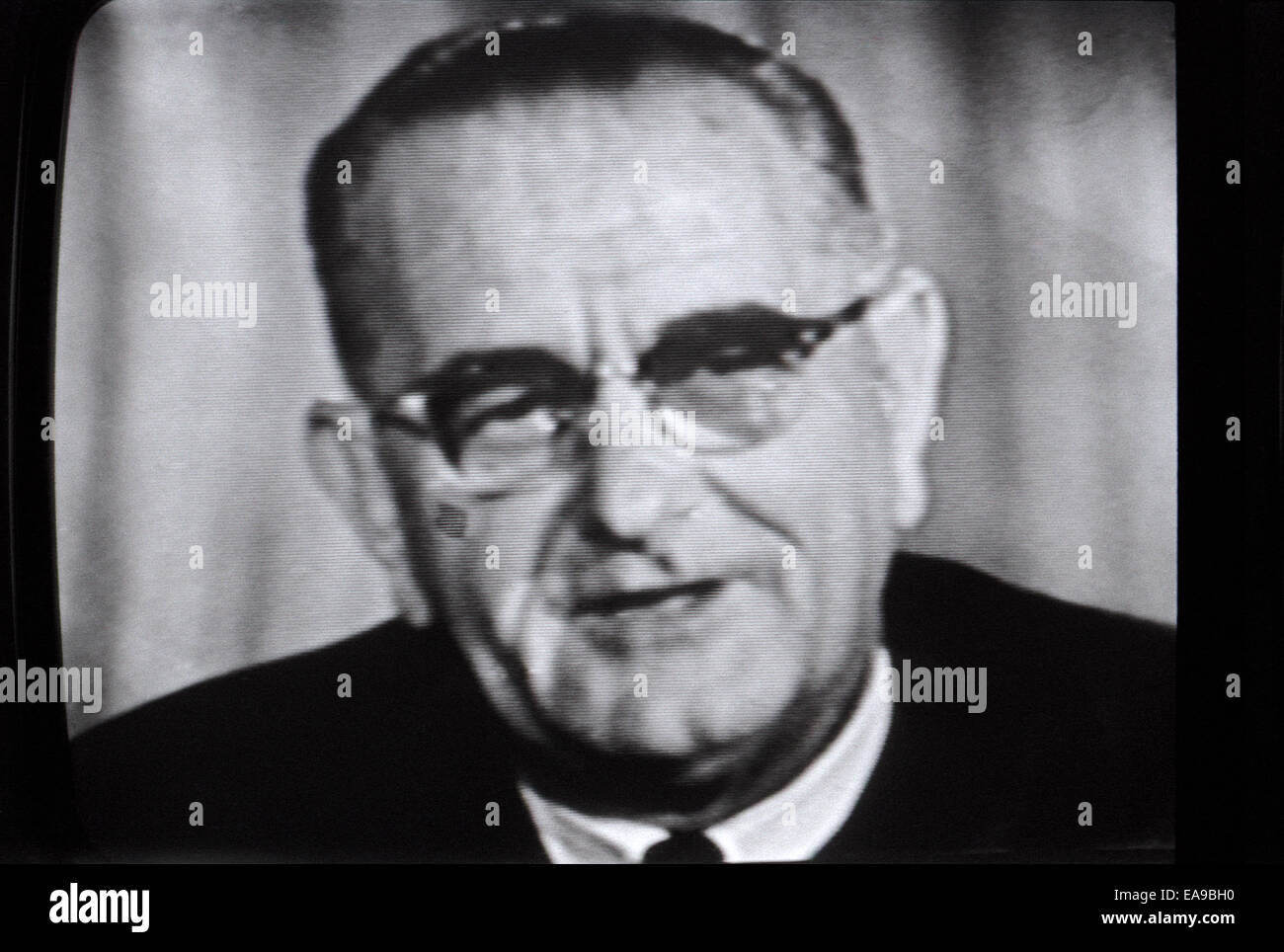 Former President Johnson LBJ photographed live on the television TV  in Los Angeles  20 July 1969 during moon landing Stock Photo