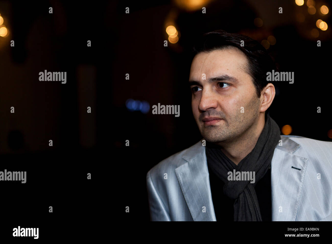 Copenhagen, Denmark, November 9th, 2014: Iranian exiled documentarist Ahmad Jalali Farahani pictured just before - Stock Image