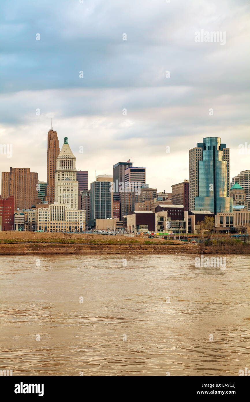 Cincinnati downtown panoramic overview at the sunset Stock Photo