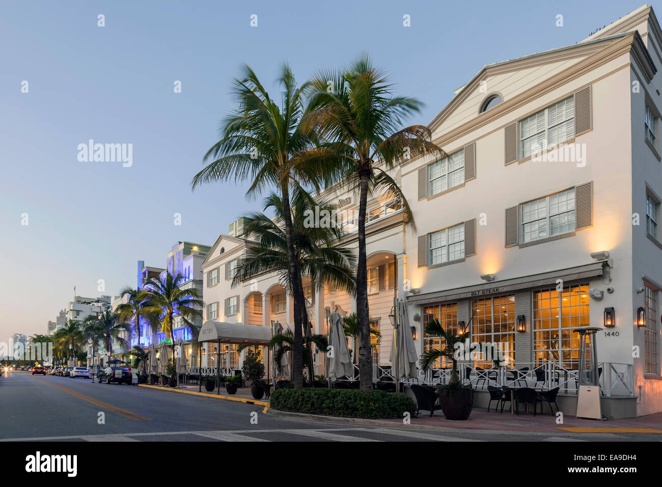 Betsy Ross Hotel and BLT Steak Restaurant in the early dawn light along Deco Drive in Miami's South Beach, Florida, Stock Photo