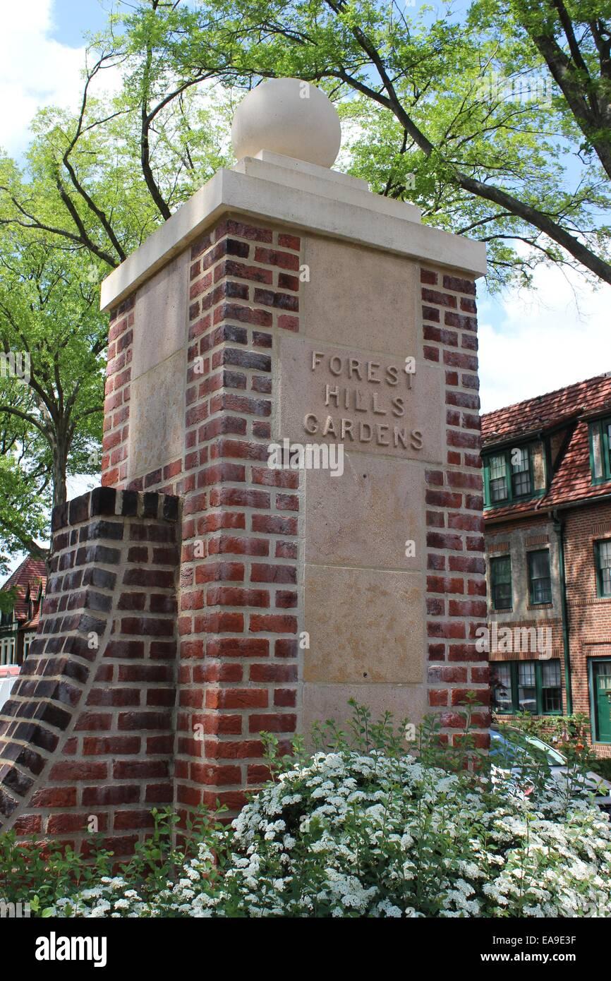 Gatepost Forest Hills Gardens, Queens, New York - Stock Image