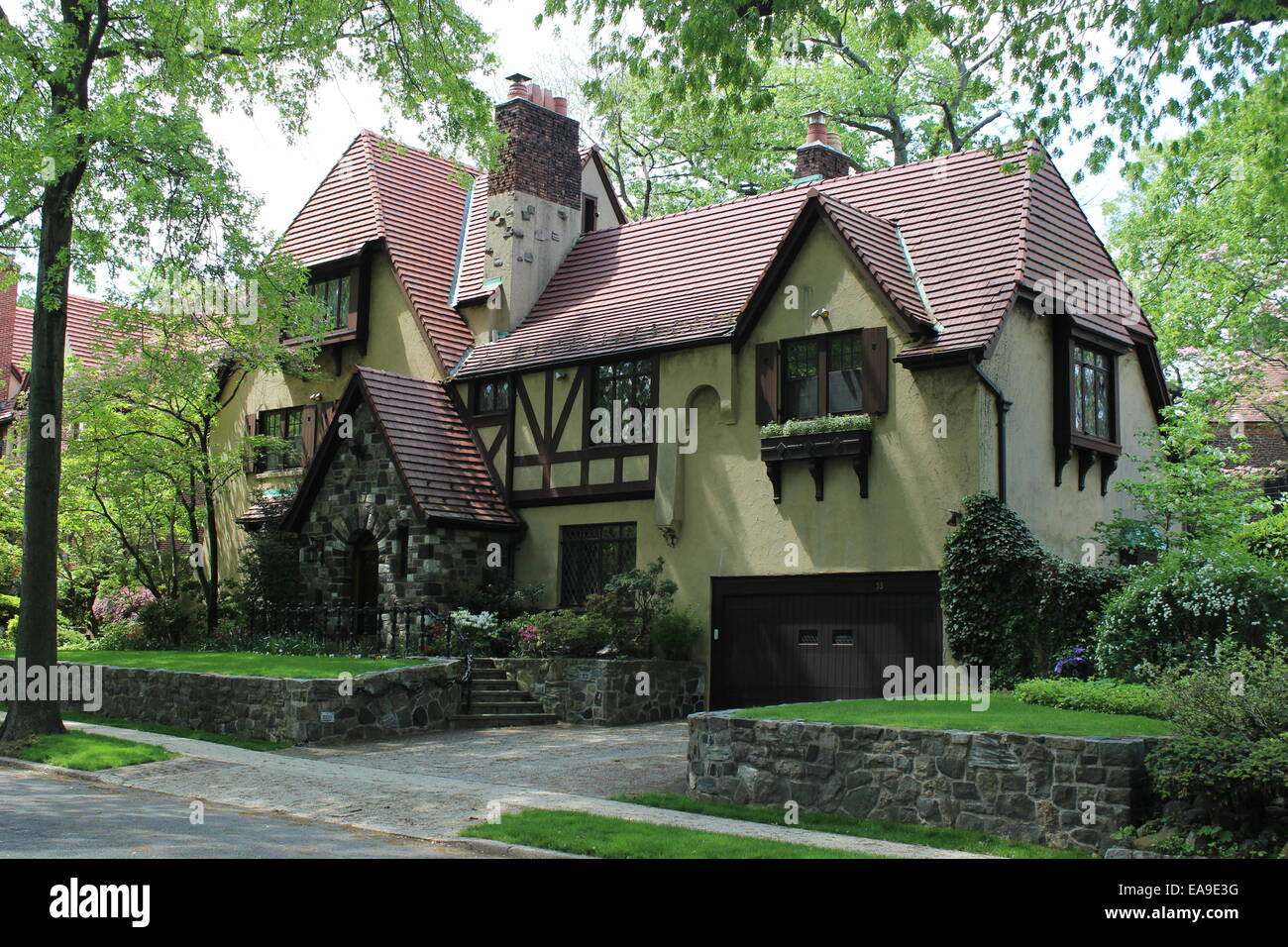 Tudor Revival House, Forest Hills Gardens, Queens, New York   Stock Image Nice Look