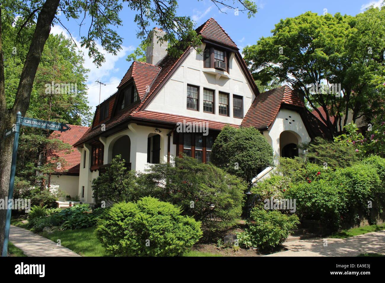 Superb Tudor Revival House, Forest Hills Gardens, Queens, New York   Stock Image