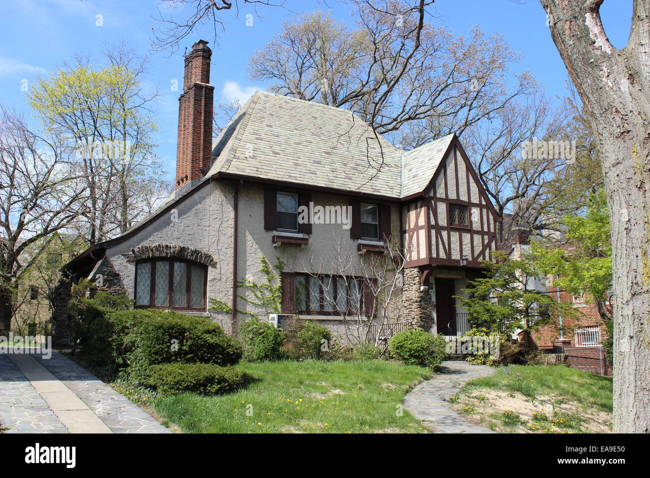 Neo tudor house kew gardens queens new york stock image