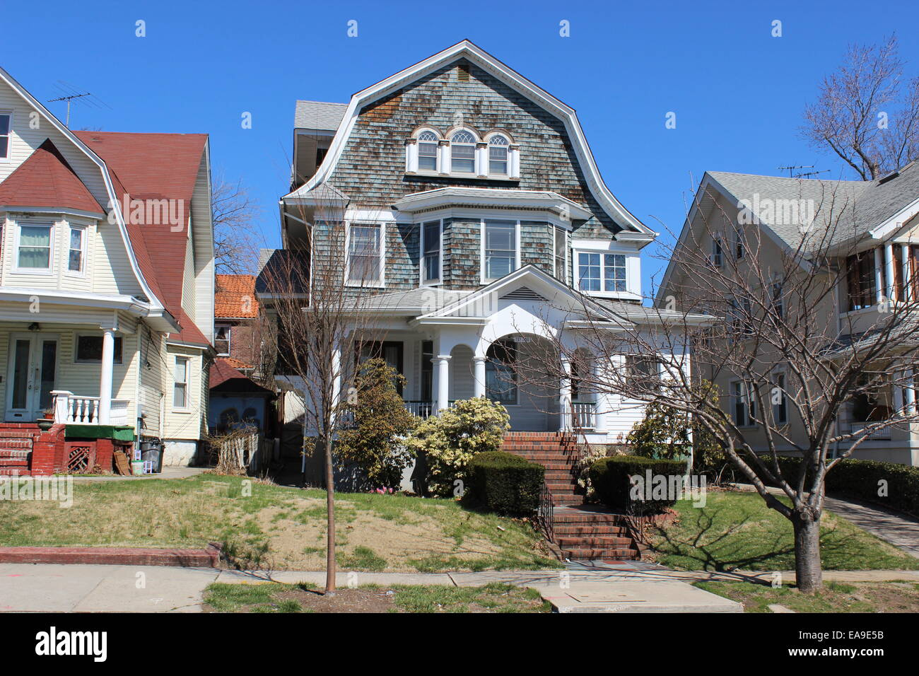 Dutch Colonial Revival House Richmond Hill Queens New York Stock