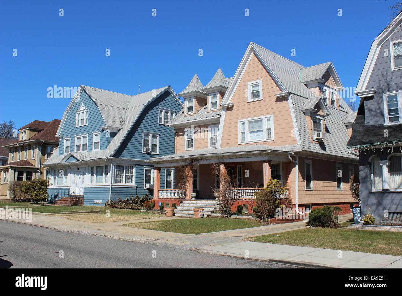 Dutch Colonial Revival Houses Richmond Hill Queens New York Stock