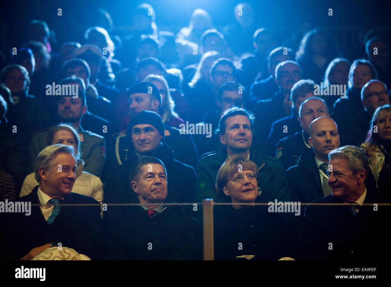 Berlin, German Chancellor Angela Merkel and her husband Joachim Sauer. 9th Nov, 2014. (R-L) German President Joachim Stock Photo