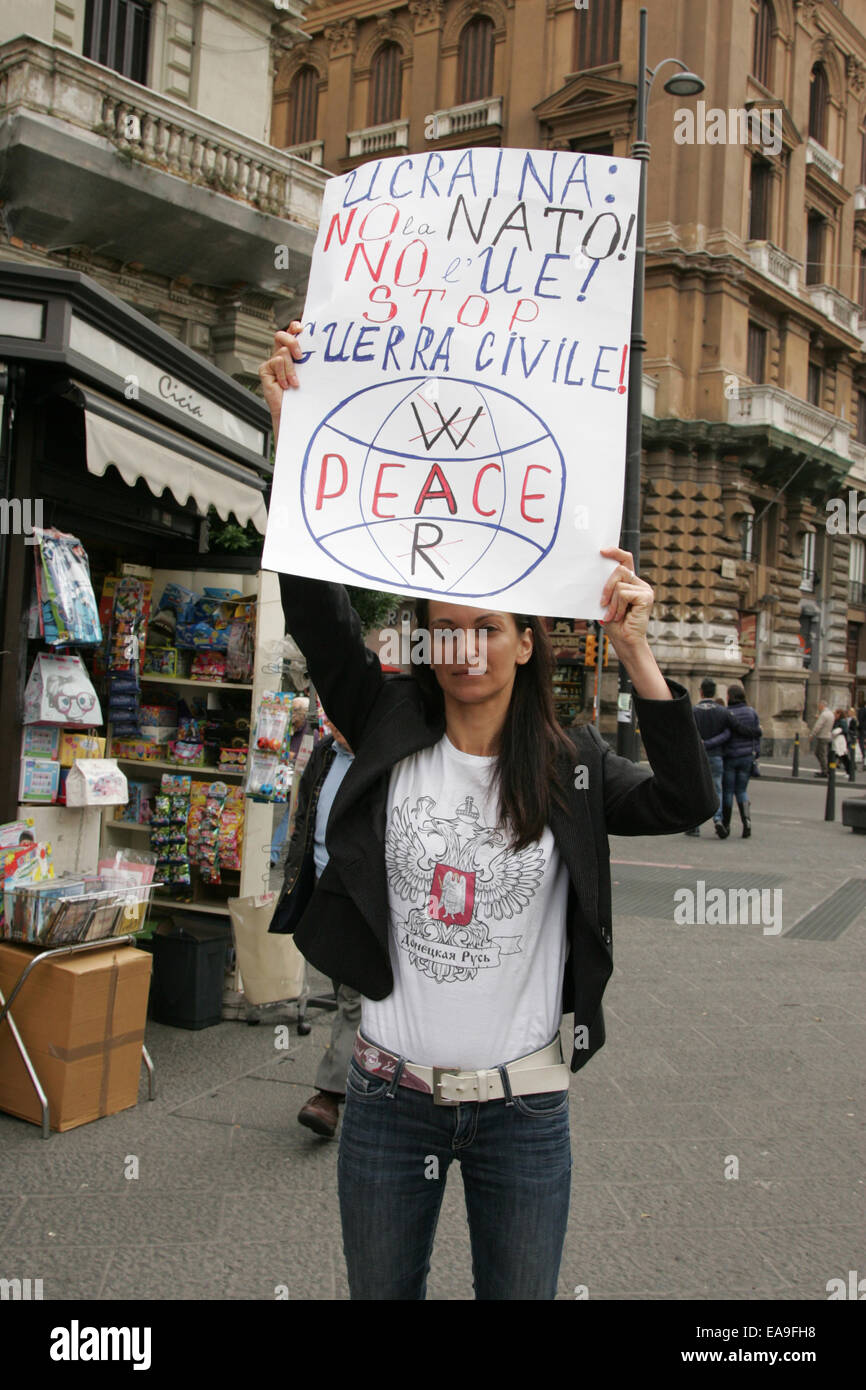 Protester from Naples brings banner and shout slogans against Ukraine's military occupations, as they witnessed Stock Photo