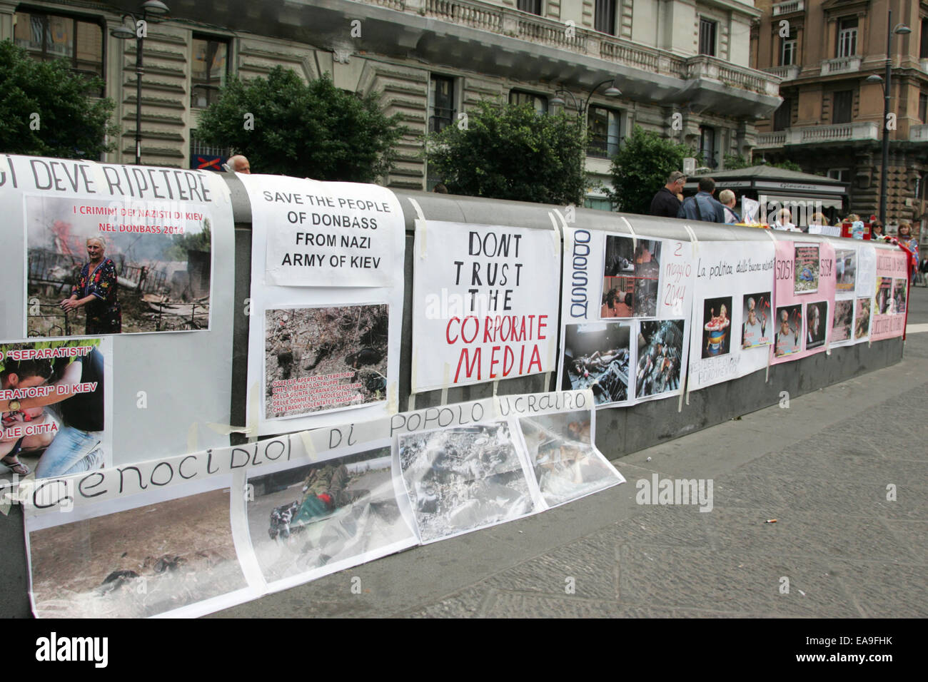 Banners posted by the protesters against Ukraine's military occupations, as they witnessed the massacre of thousands Stock Photo