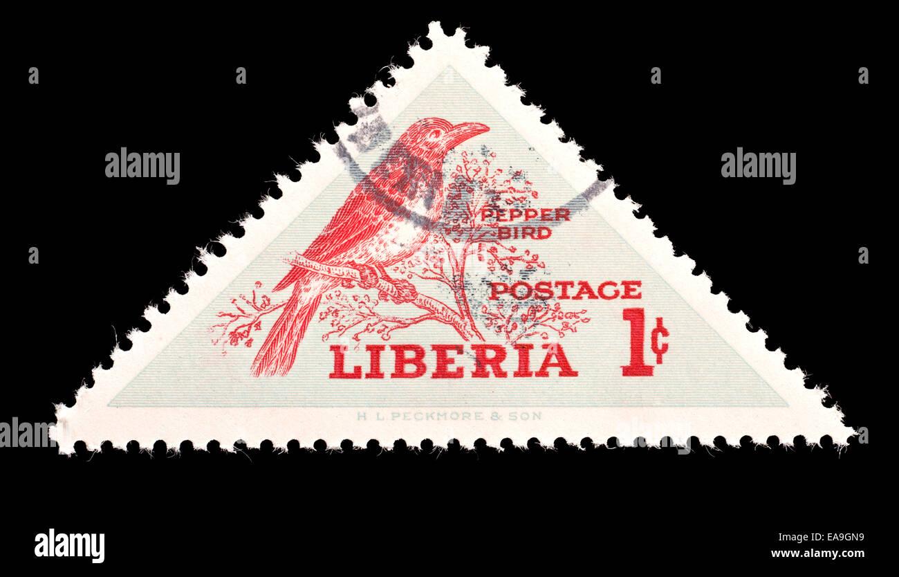Postage stamp from Liberia depicting a pepper bird (Pycnonotus barbatus), national bird of Liberia - Stock Image