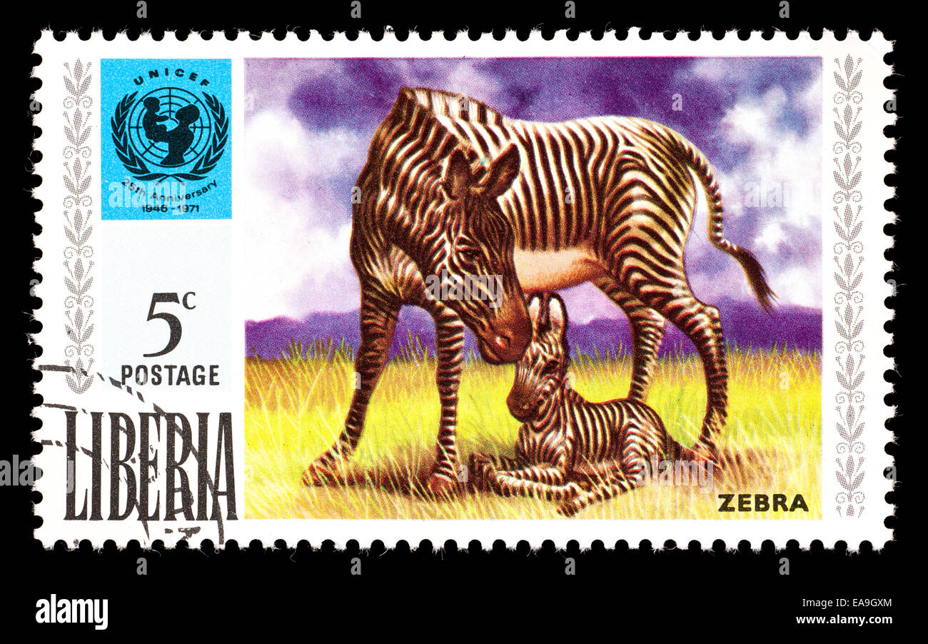 Postage stamp from Liberia depicting zebras, issued in recognition of UNICEF - Stock Image