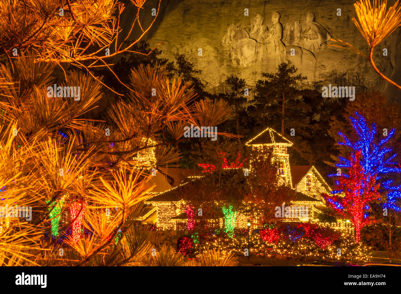 Christmas lights at Stone Mountain Park in Atlanta, Georgia, USA ...