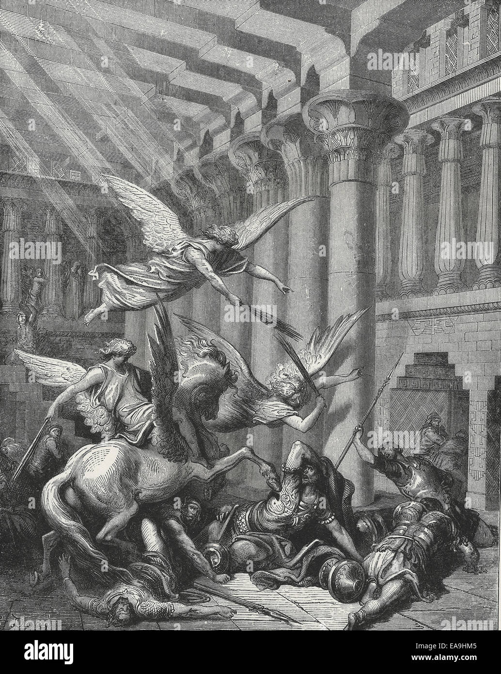 The expulsion of Heliodorus from the Temple - Old Testament Bible - Stock Image