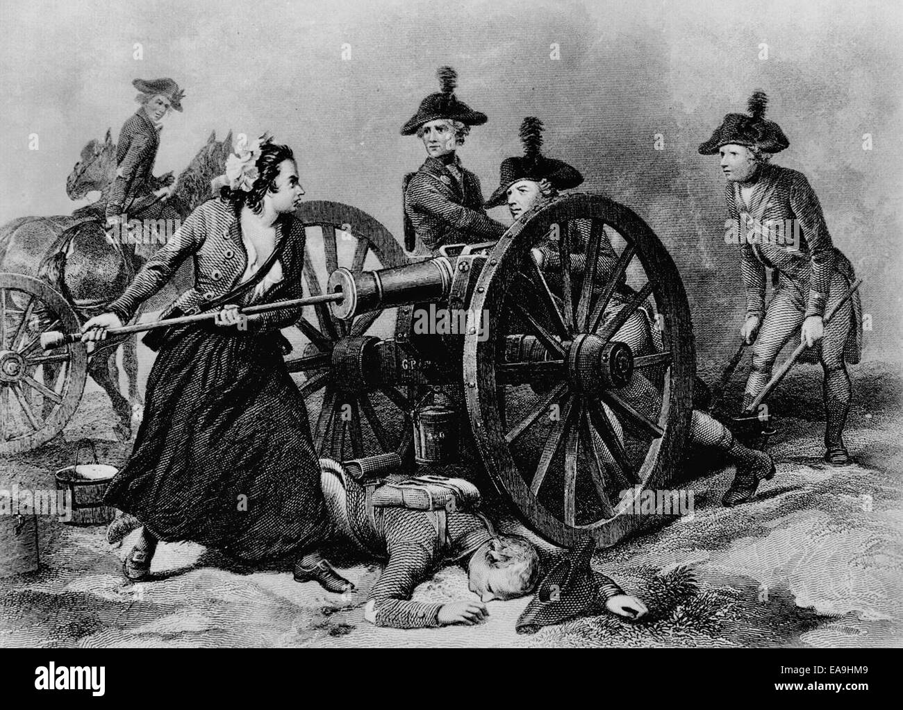 Molly Pitcher at the Battle of Monmouth during the American Revolution. The legend of Molly Pitcher is closely associated - Stock Image