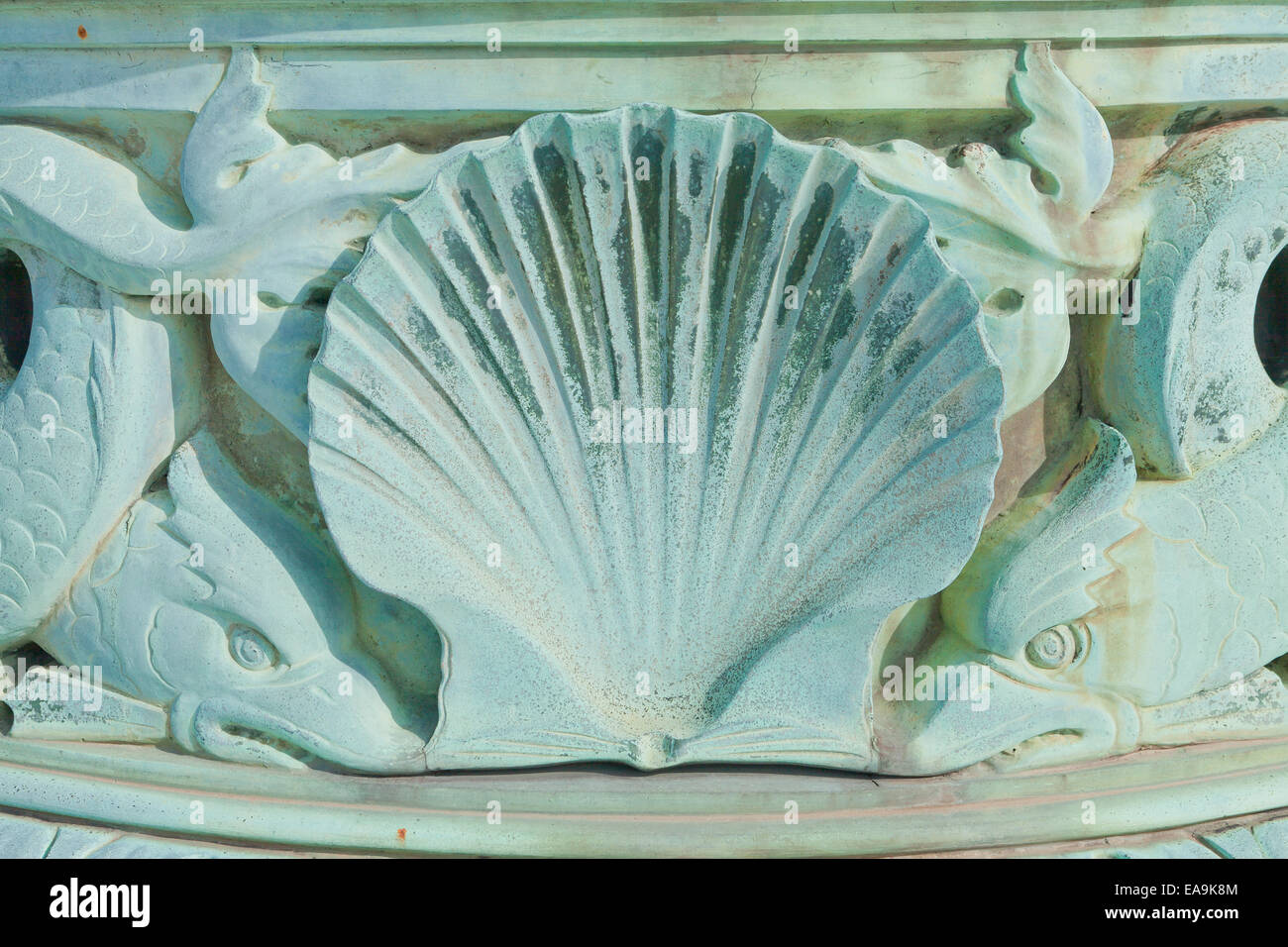 Scallop shell detail in ancient Greek theme sculpture - Stock Image
