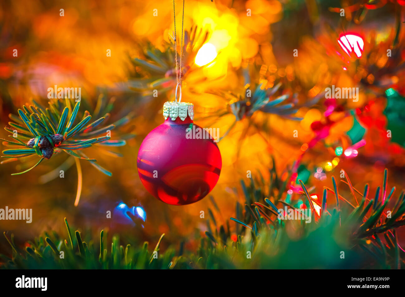 Decorated Christmas tree - Stock Image