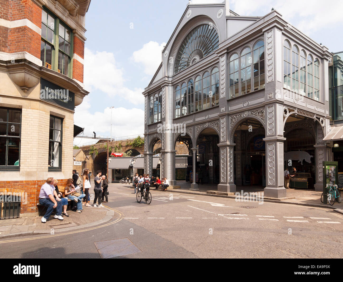 Steel and glass architecture of market hall at Borough Market, London - Stock Image