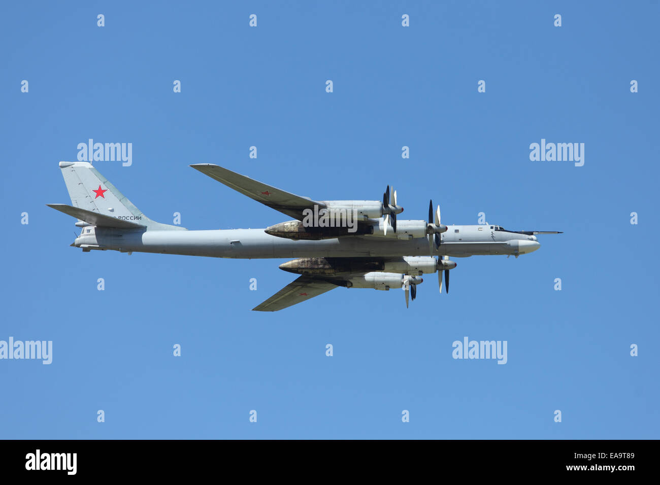 Russian four-engine turboprop-powered strategic bomber TU 95 MS - Stock Image