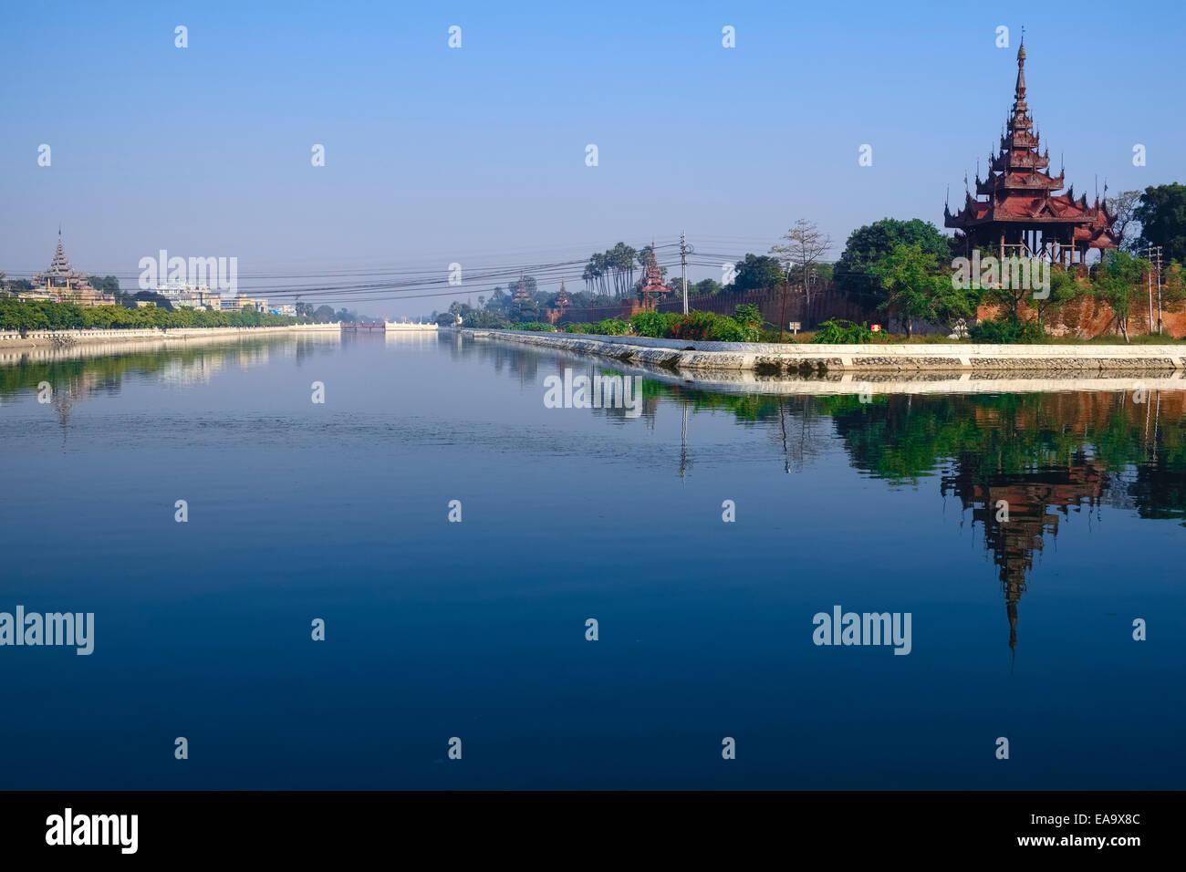 Moat at Royal Palace, Mandalay, Shan State, Myanmar - Stock Image