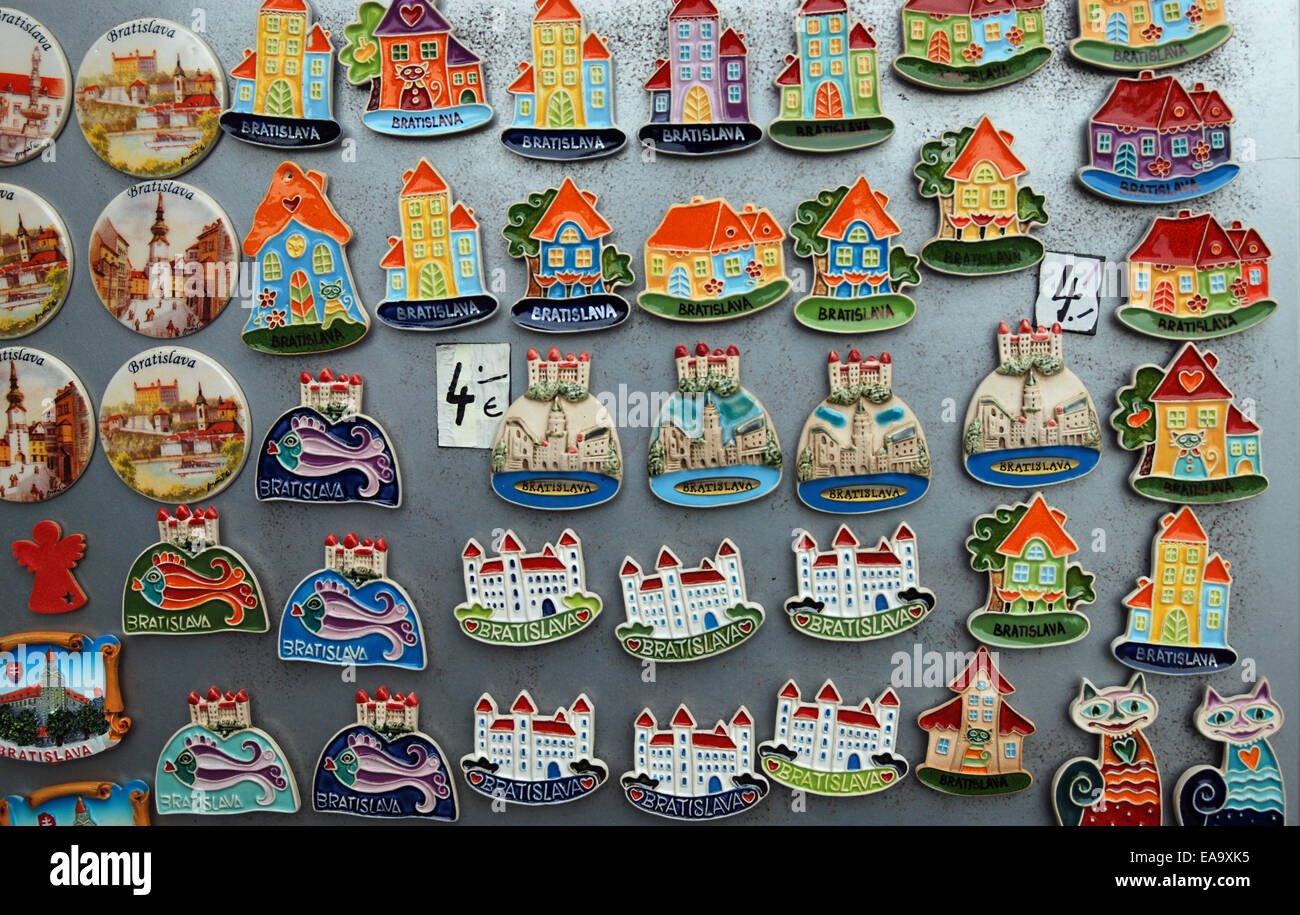 Souvenir Fridge Magnets And Badges On Display In Old Town