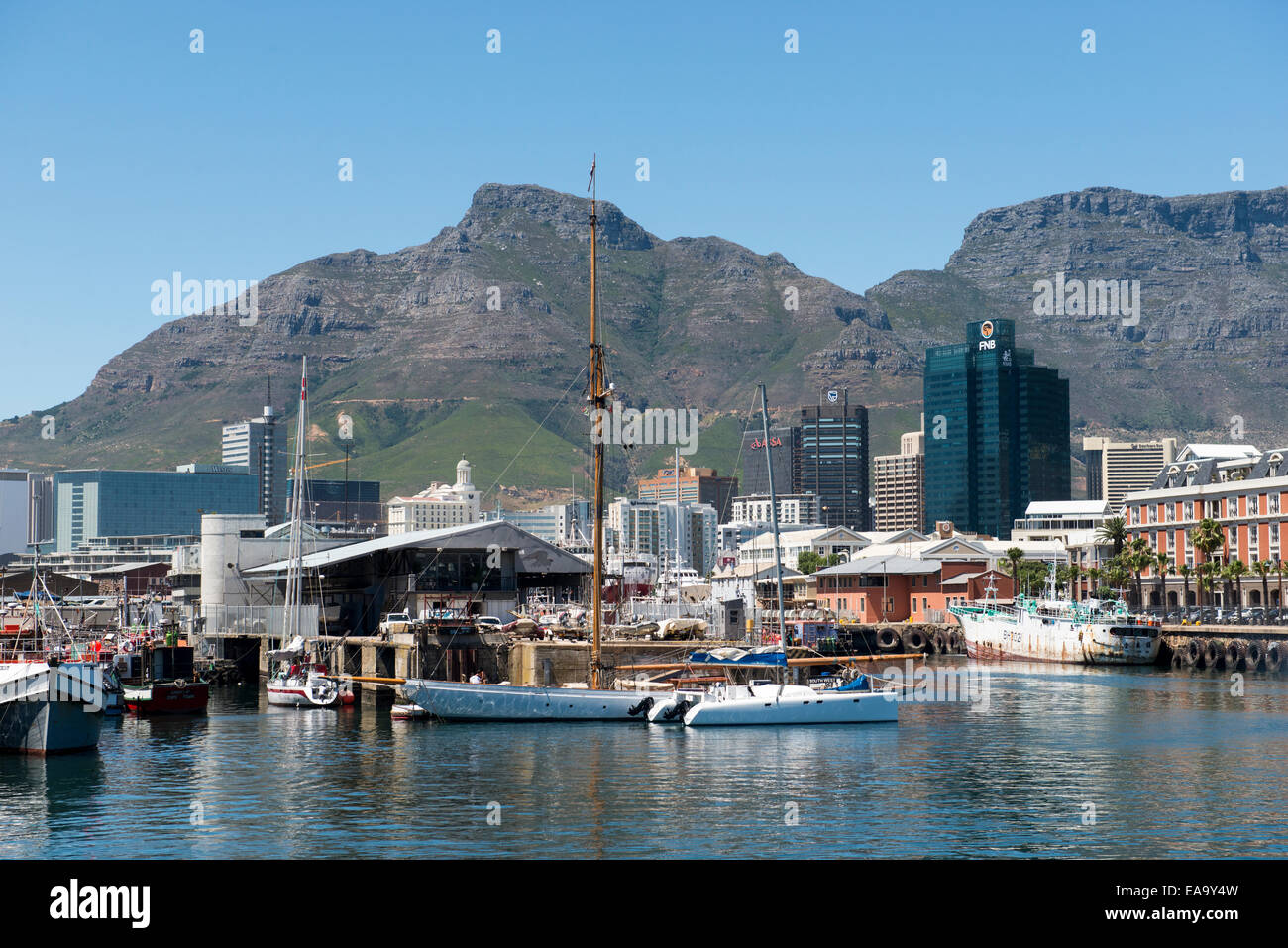 Skyscrapers in the central business district and old harbor, view from Albert Mall, Cape Town, South Africa - Stock Image