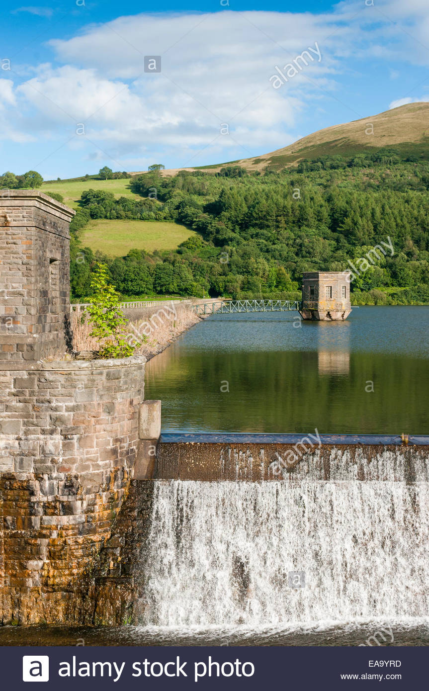 Overflow weir of Talybont Reservoir Powys Wales UK - Stock Image