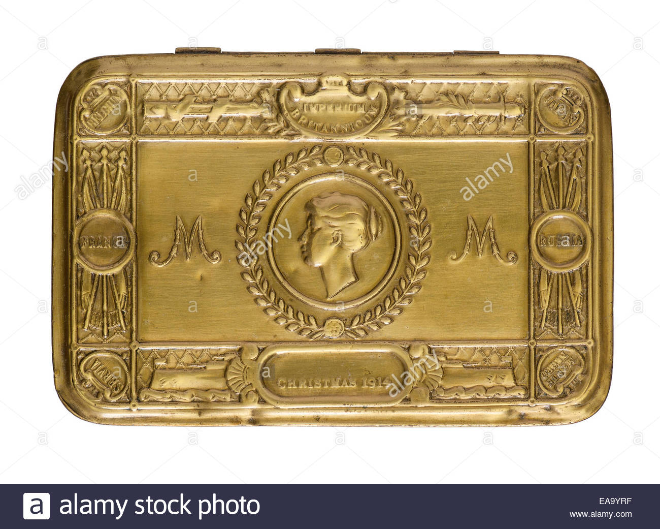 Great War (WW1) Christmas 1914 Princess Mary decorative brass tin cut out - Stock Image
