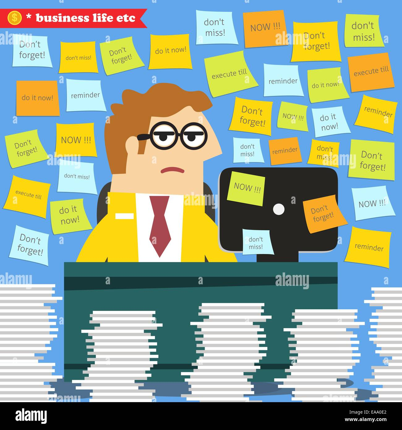 Business life. Hard work in progress, paperwork piles around the desk  vector illustration - Stock Vector