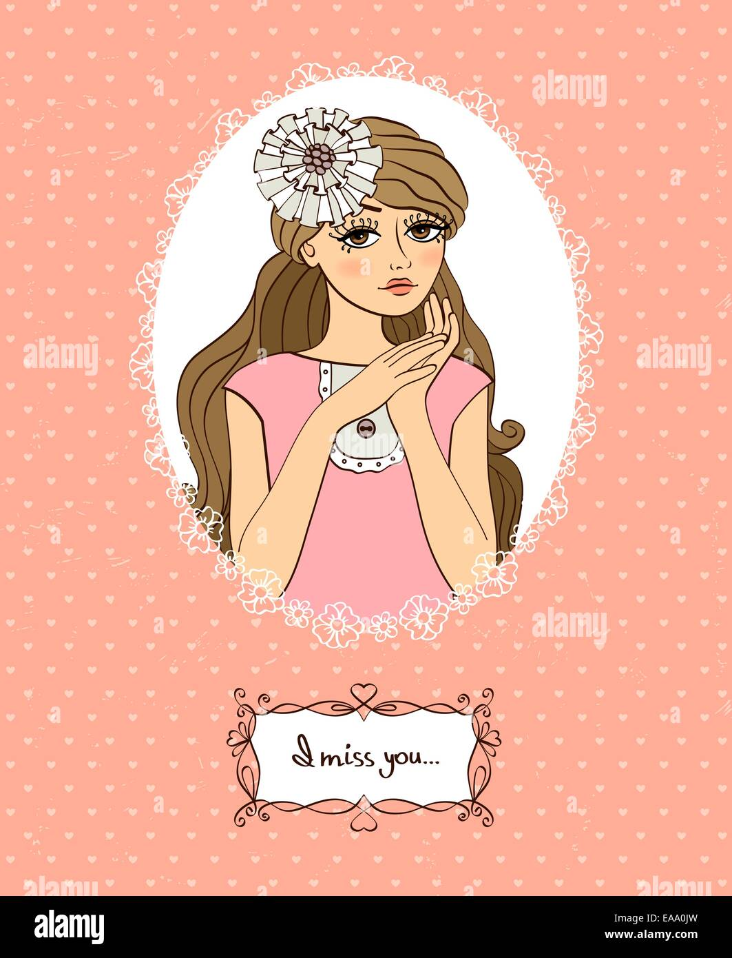 I Miss You Valentines Card With Cute Girl And Love Message Vector