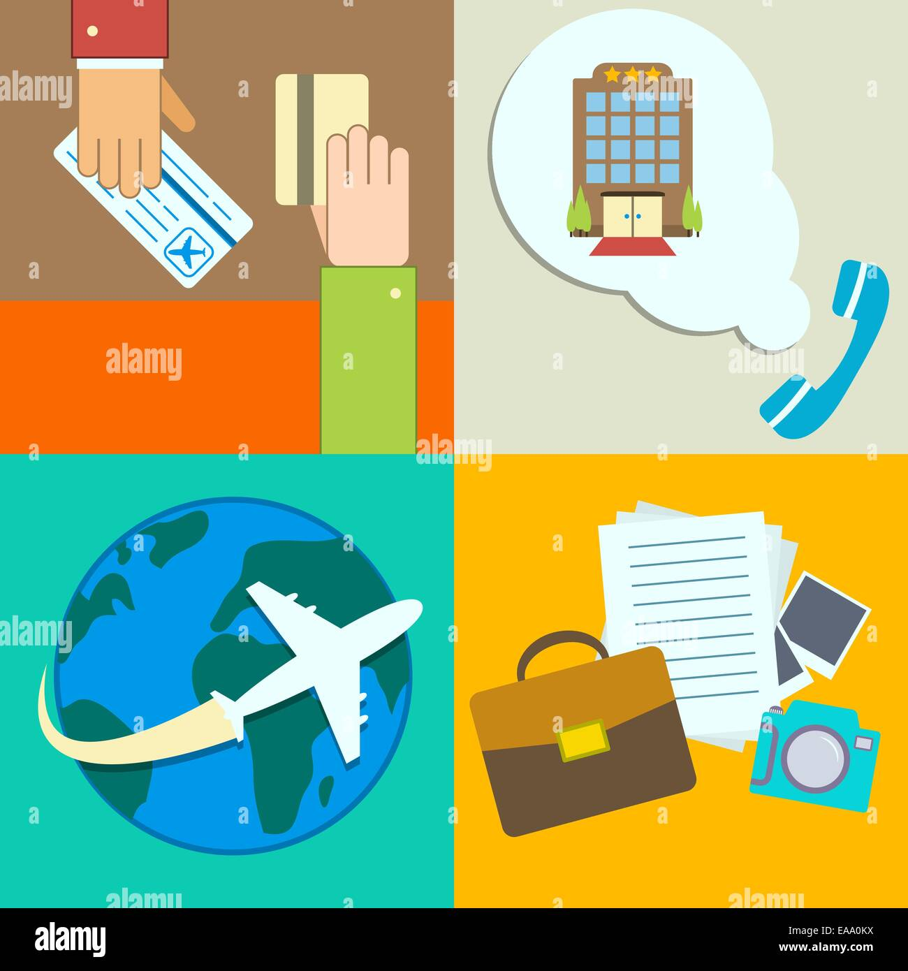 Business Travel Infographics Icons Set With Hands Of Ticket Purchase Hotel Booking And Flight Vector Illustration