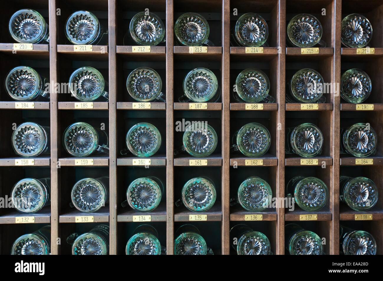 Shelf of mugs for mug club members at the Grand Rapids Brewing Company - Stock Image