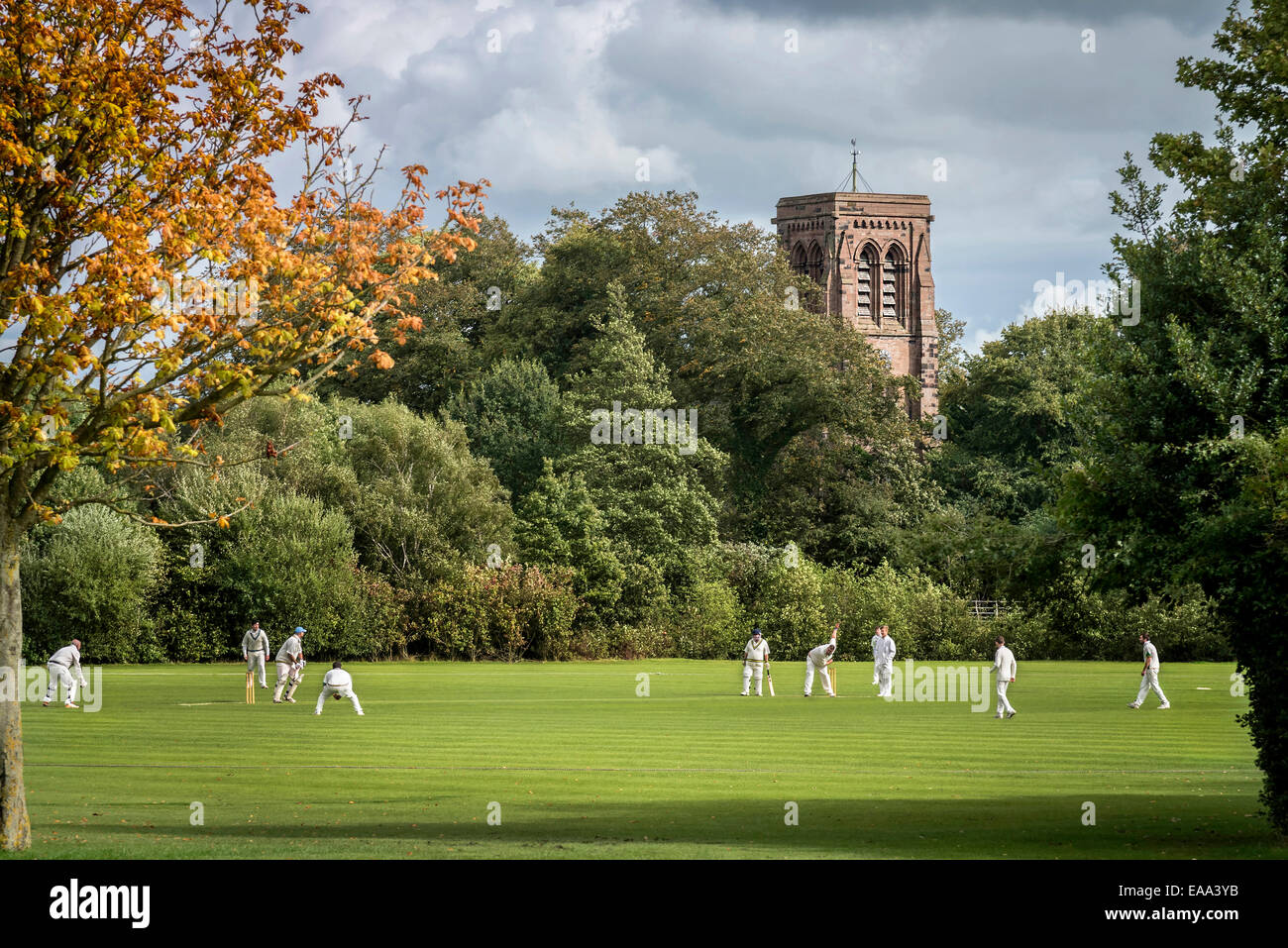 Stretton cricket club match. Cheshire Warrington North West England. - Stock Image
