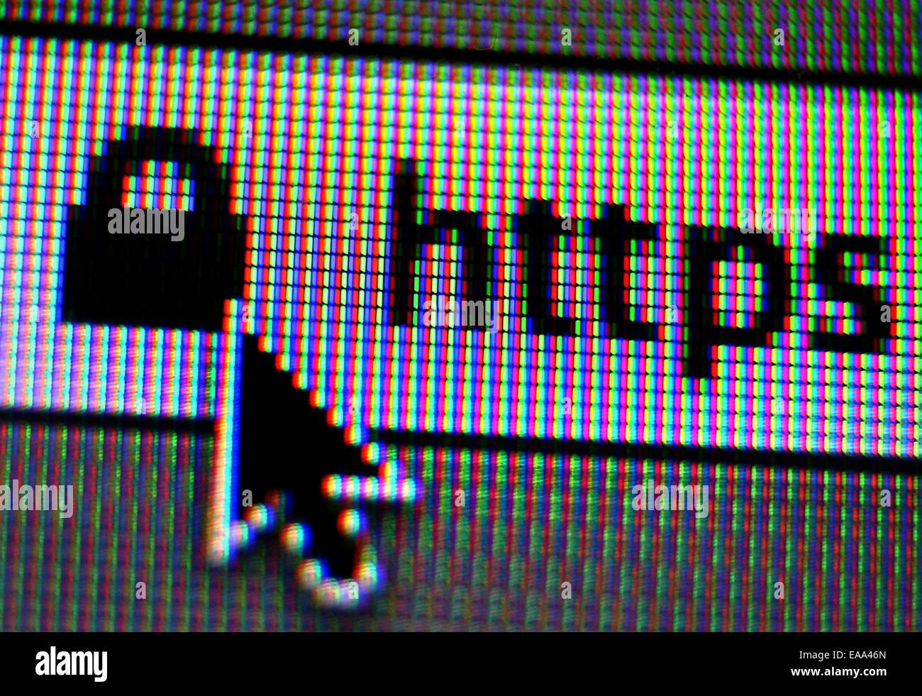Kaufbeuren, Germany. 09th Nov, 2014. The abbreviation https (hypertext transfer protocol secure) on a computer browser - Stock Image