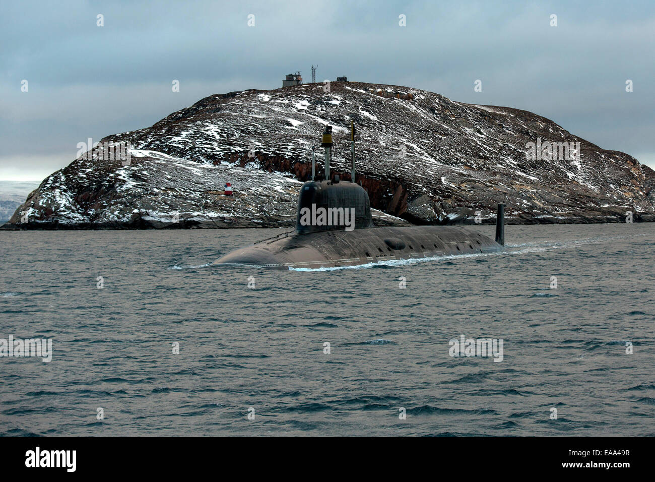 Murmansk Region, Russia. 10th Nov, 2014. The Russian Northern Fleet's Severodvinsk nuclear submarine during - Stock Image